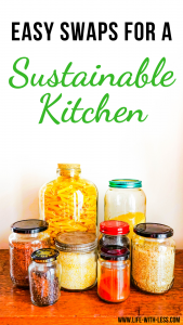 Read about easy ways to make your kitchen more sustainable. Including useful tips and product swaps for a more sustainable kitchen. #kitchen #sustainable #sustainability #cooking #sustainablelifestyle #ecofriendly #reducewaste #zerowaste #lifewithless