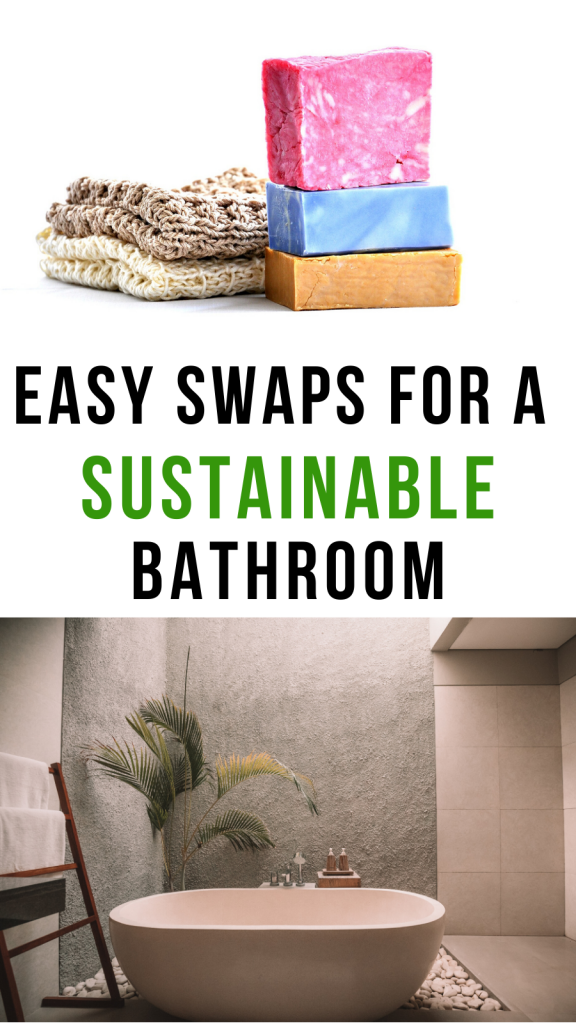 Ways to create a more sustainable and eco-friendly bathroom. Including easy to swap products and ideas for a more sustainable bathroom. #bathroom #sustainable #ecofriendly #sustainability #zerowastebathroom #sustainablelifestyle #gogreen #reducewast #reduceplastic #ecofriendlylifestyle #zerowaste #ecotips #swaps #ecomama #ecoswaps #sustainablebathroom #sustainableproducts #ecofriendlyproducts #products #greenproducts #lifewithless
