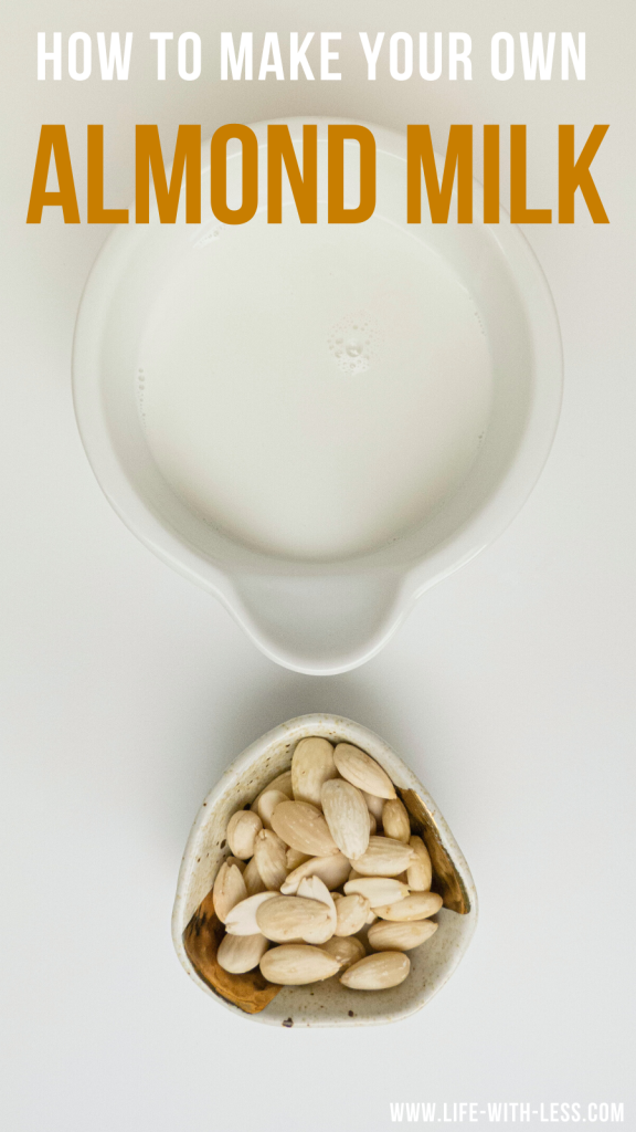 It's quick and simple to make your own almond milk at home. Follow this easy recipe to make your own almond milk with just two ingredients! #almonds #almondmilk #milk #vegan #veganmilk #makeyourown #sustainable #sustainablefood #ecofood