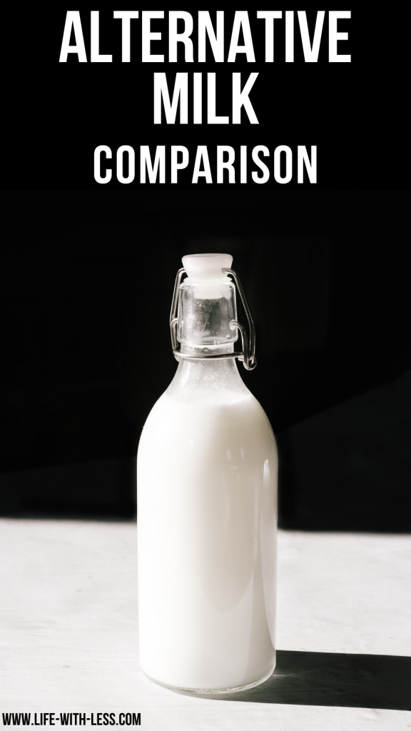 Looking for a sustainable alternative to milk but not sure where to start? This article gives you info about the best milk alternatives and how to make them yourself. #milk #alternative #alternativemilk #homemade #ecofriendly #sustainablemilk #greenkitchen #nondairymilk